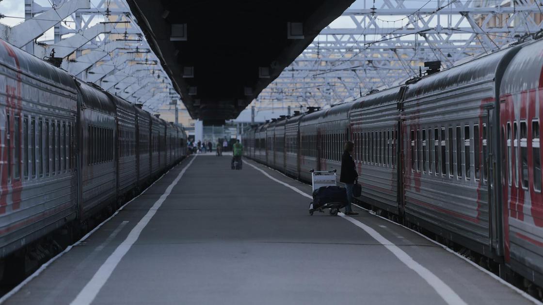 Поезда стоят на станции