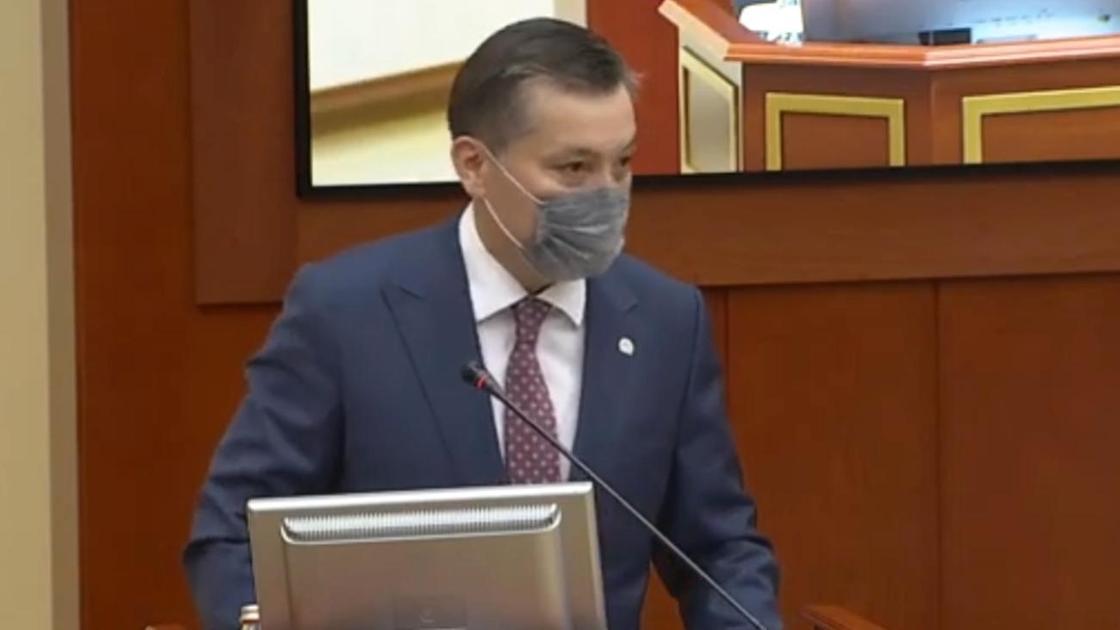 Сериккали Брекешев выступает перед депутатами