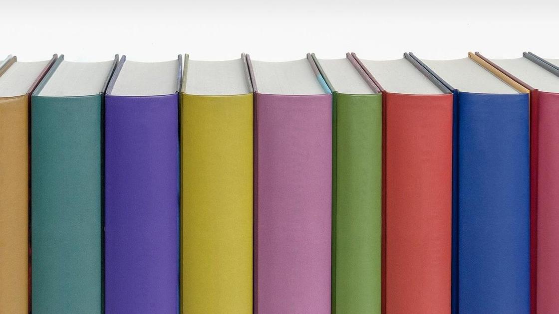 Книги с разноцветными корешками