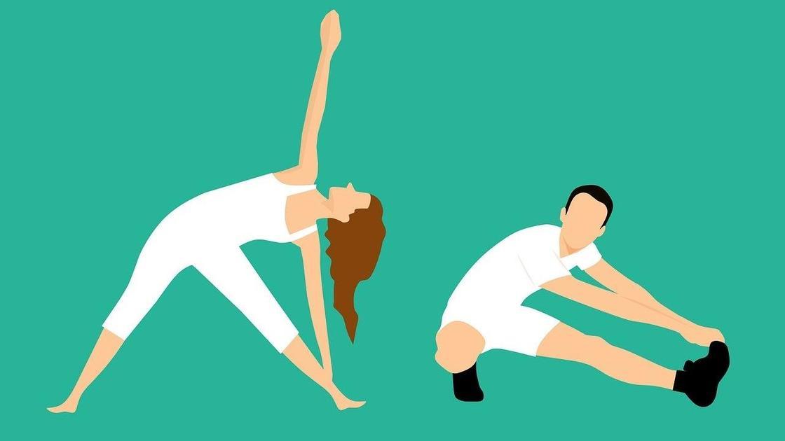 Рисунок: парень и девушка делают зарядку