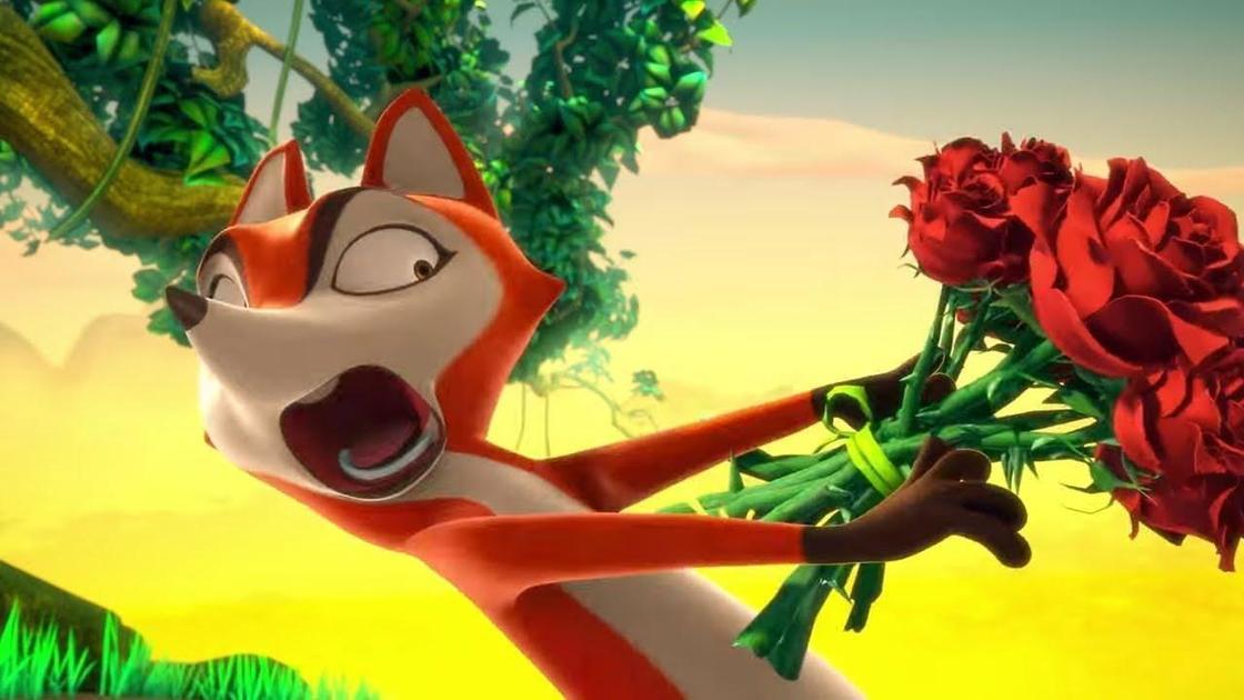 лис с цветами (кадр из мультика)