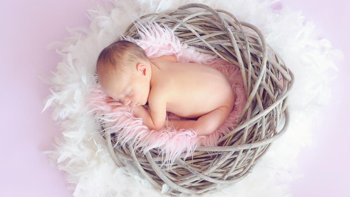 младенец спит в корзинке