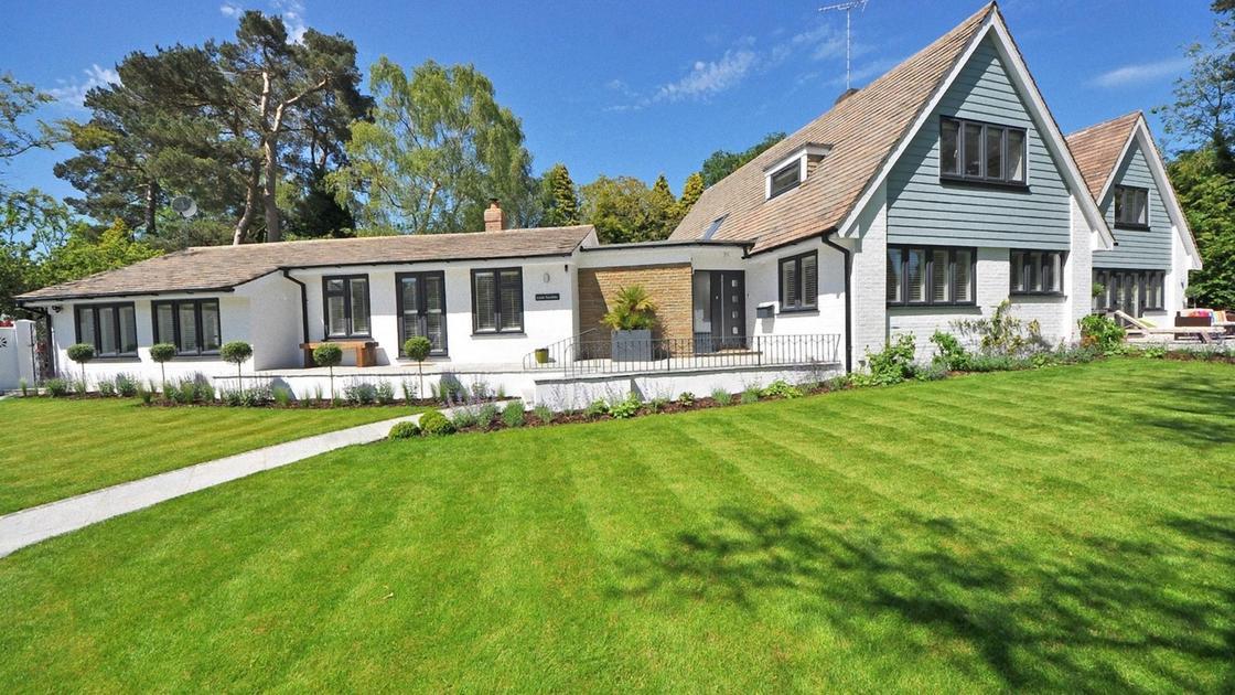 Зеленый газон возле дома