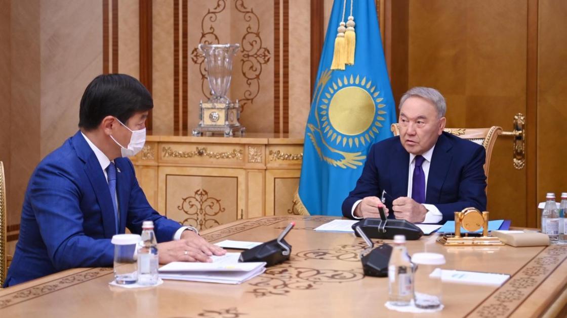 Елбасы Нурсултан Назарбаев и первый зампред партии Nur Otan Бауыржан Байбек