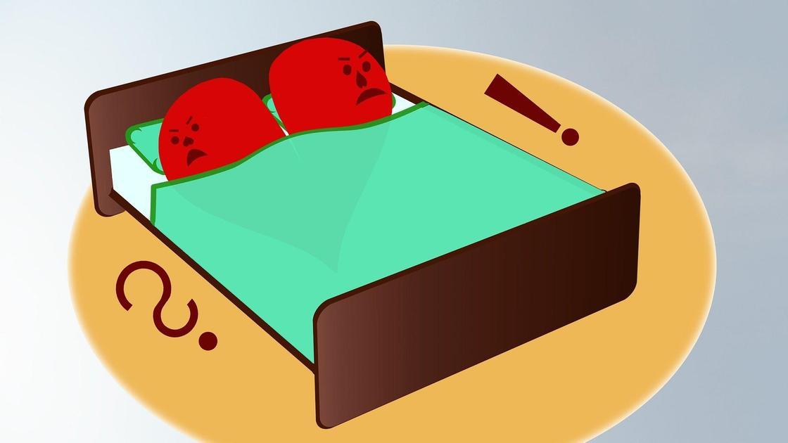 Люди в кровати с красными лицами (шарж)