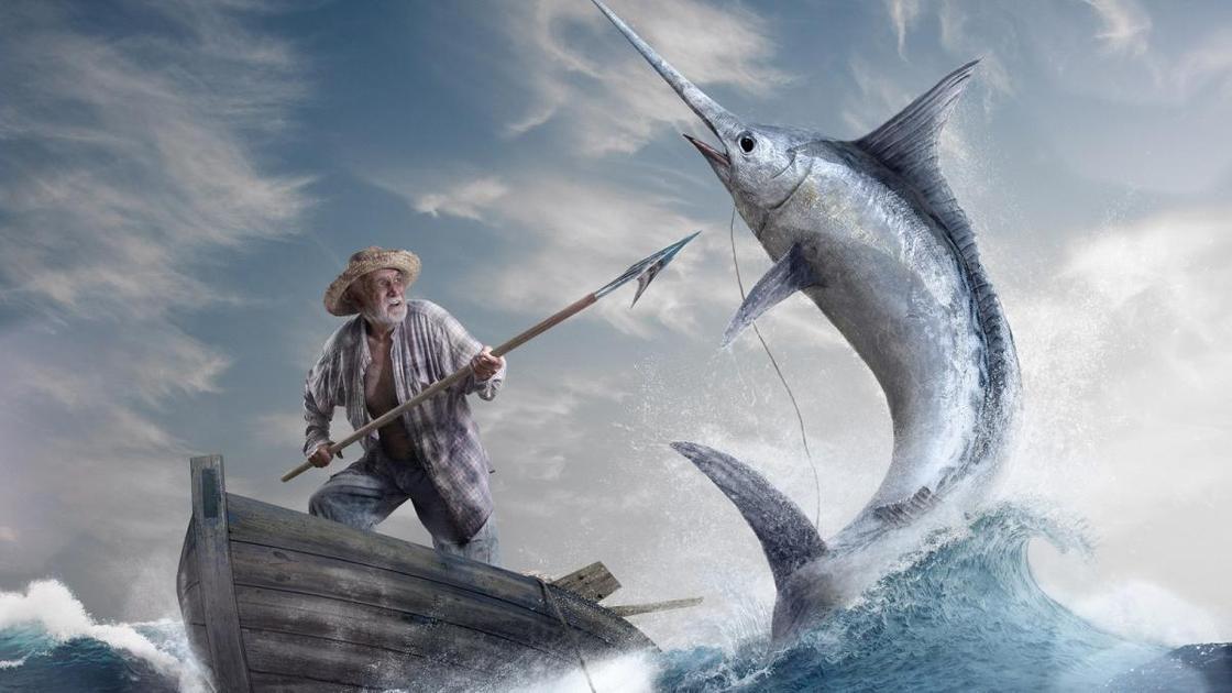 Старик и море - иллюстрация