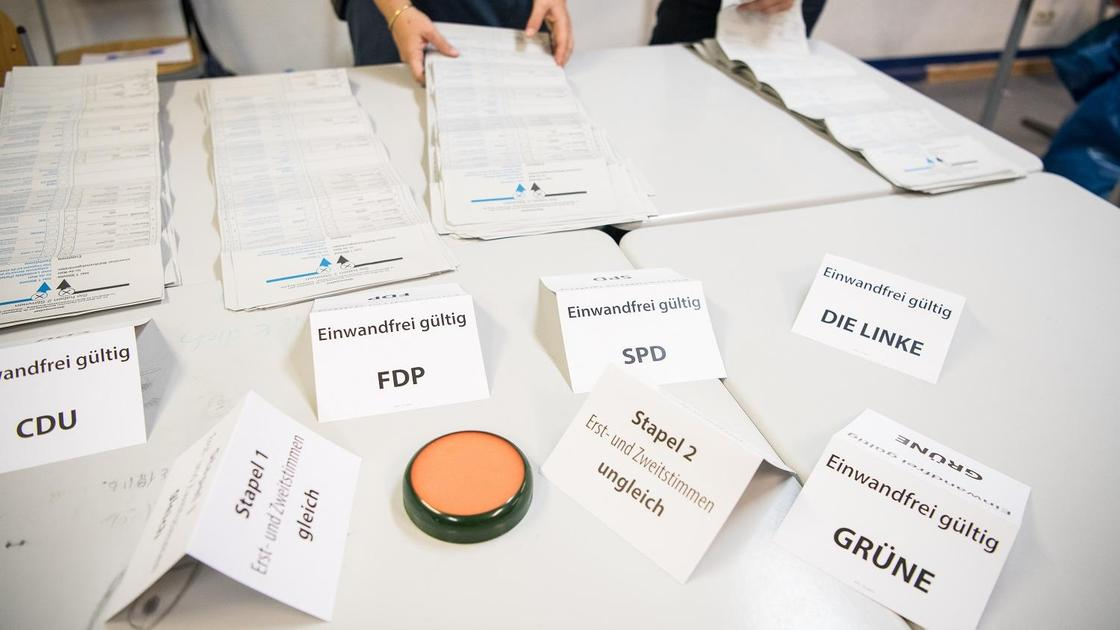 Подсчет бюллетеней на выборах в Германии