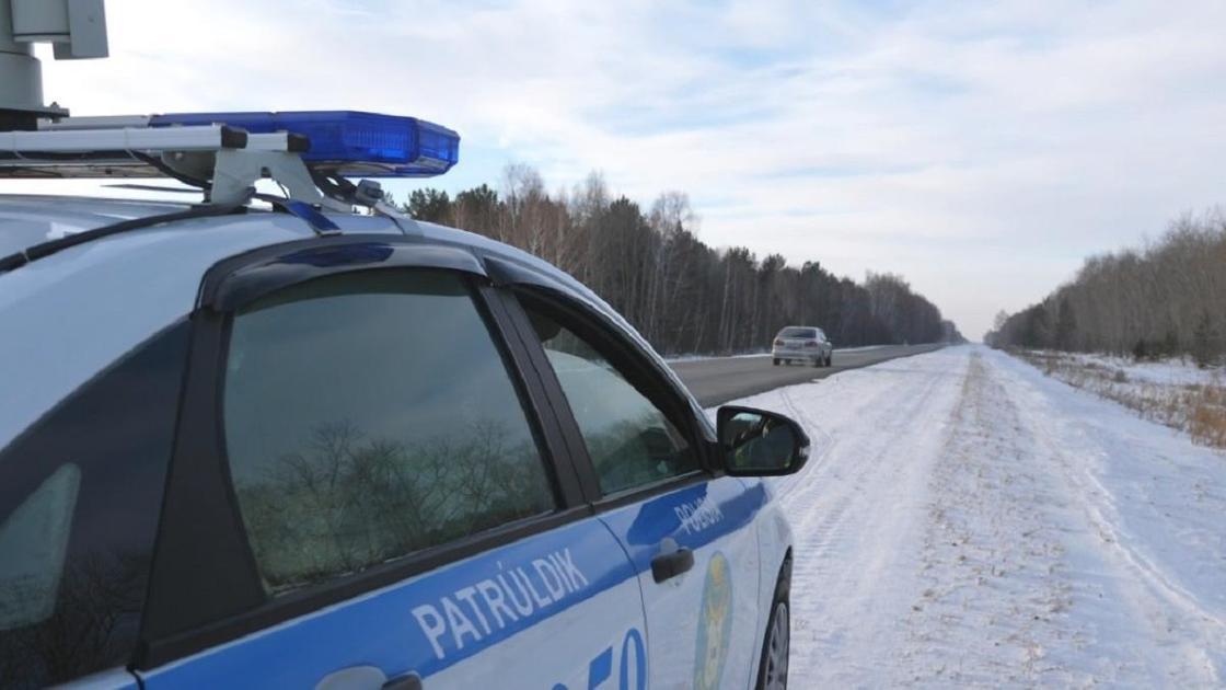 полицейская машина стоит на дороге