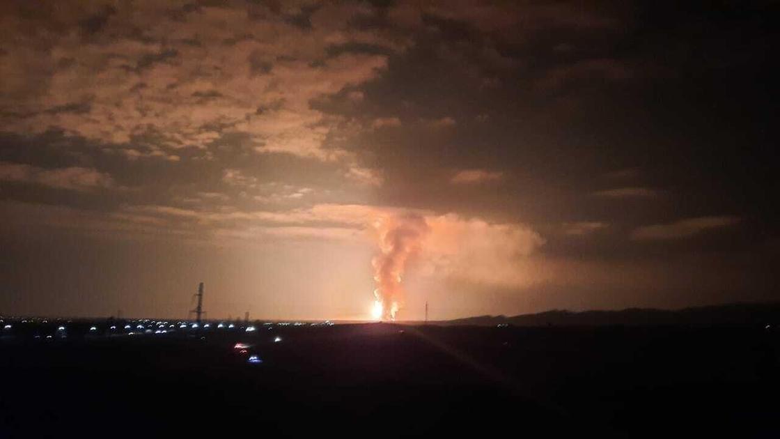 Вид на пожар в Жамбылской области
