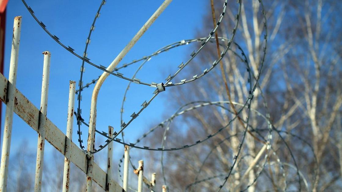 Колючая проволока на заборе тюрьмы