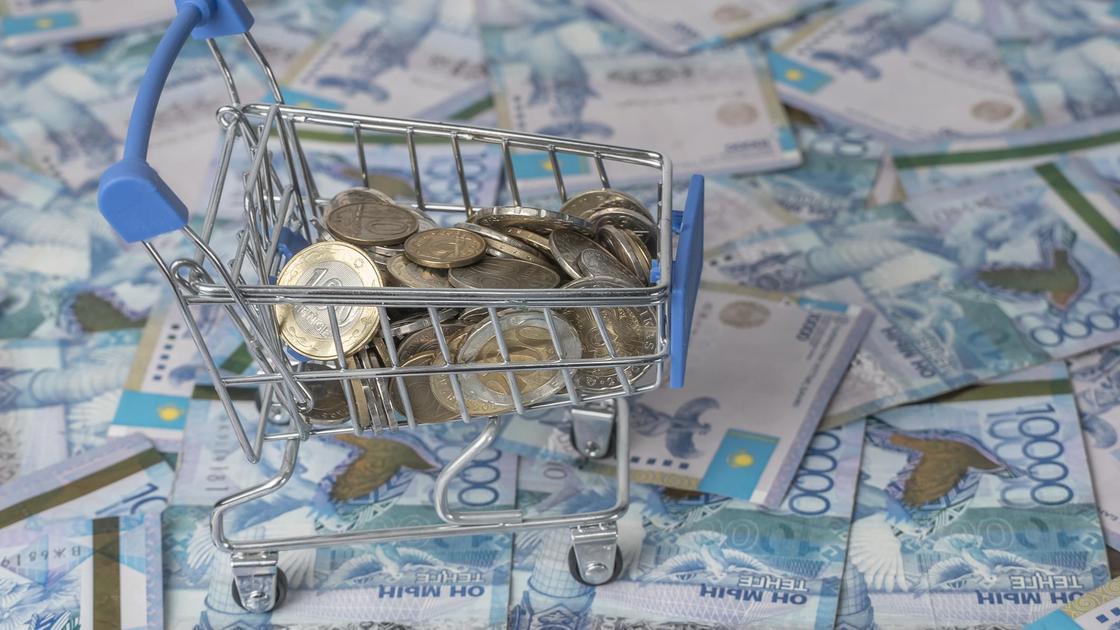 Монеты тенге лежат в миниатюрной продуктовой корзине