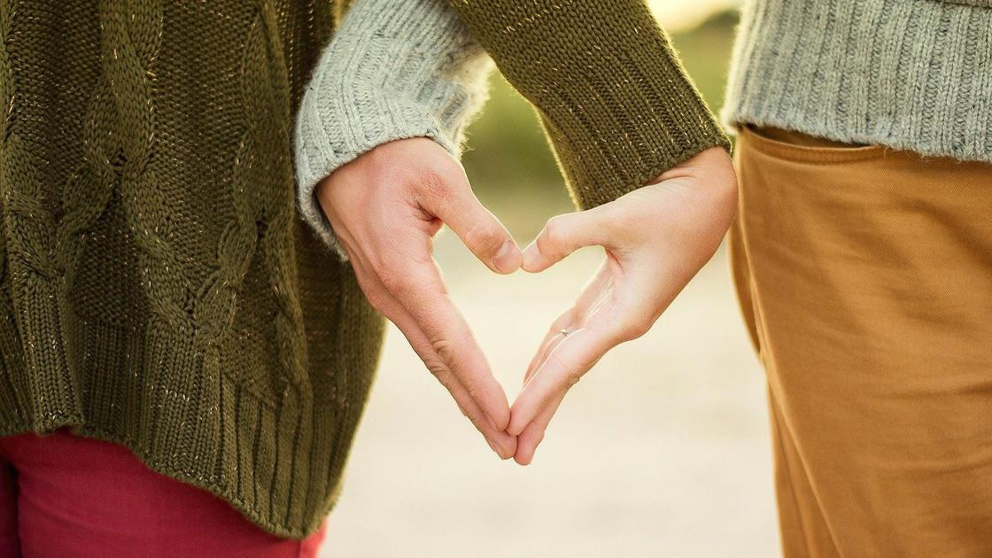 пара держит ладони в форме сердца