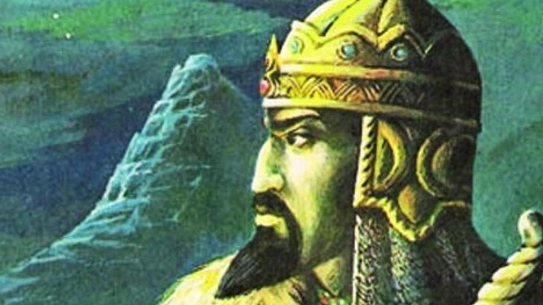 Портрет Кенесары Касымова на фоне гор