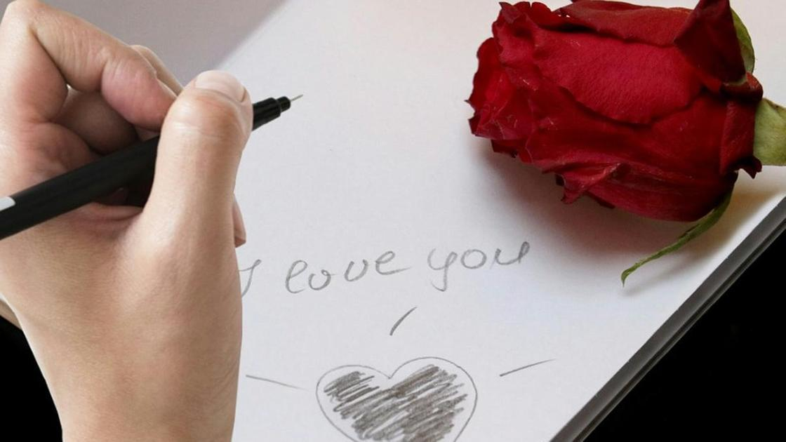 роза и надпись I love you