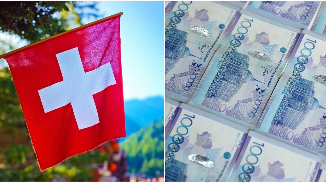 швейцарский флаг и тенге