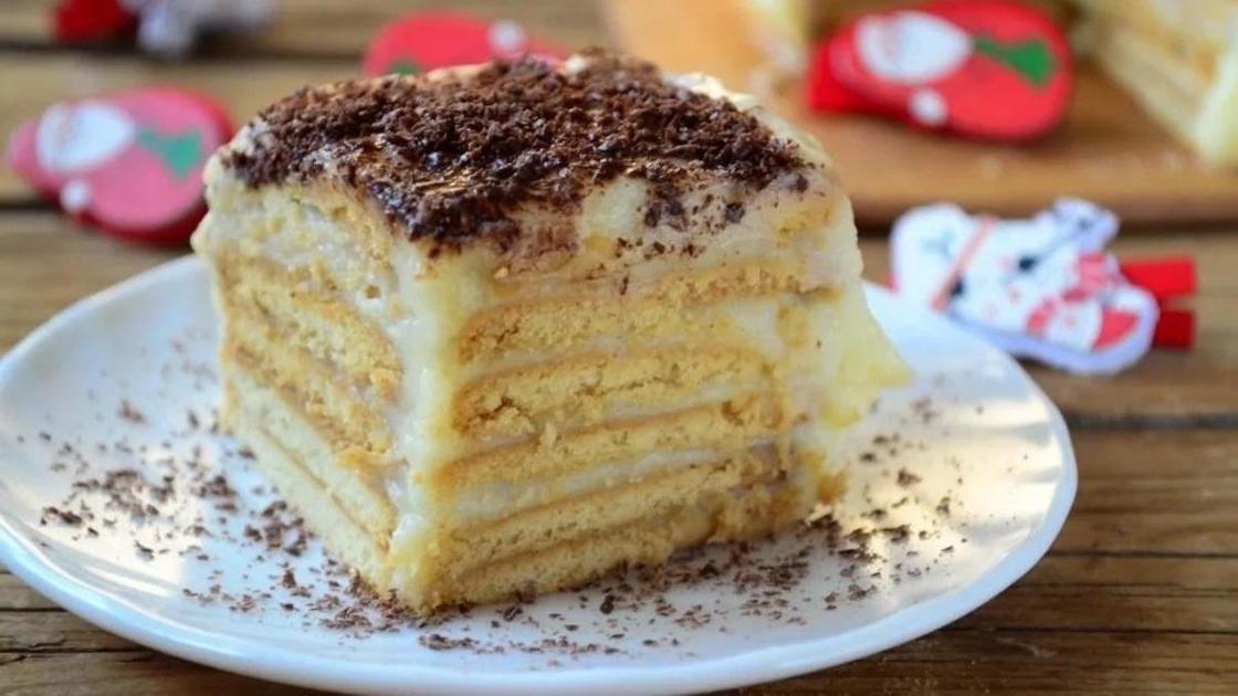 Торт на скорую руку с заварным кремом