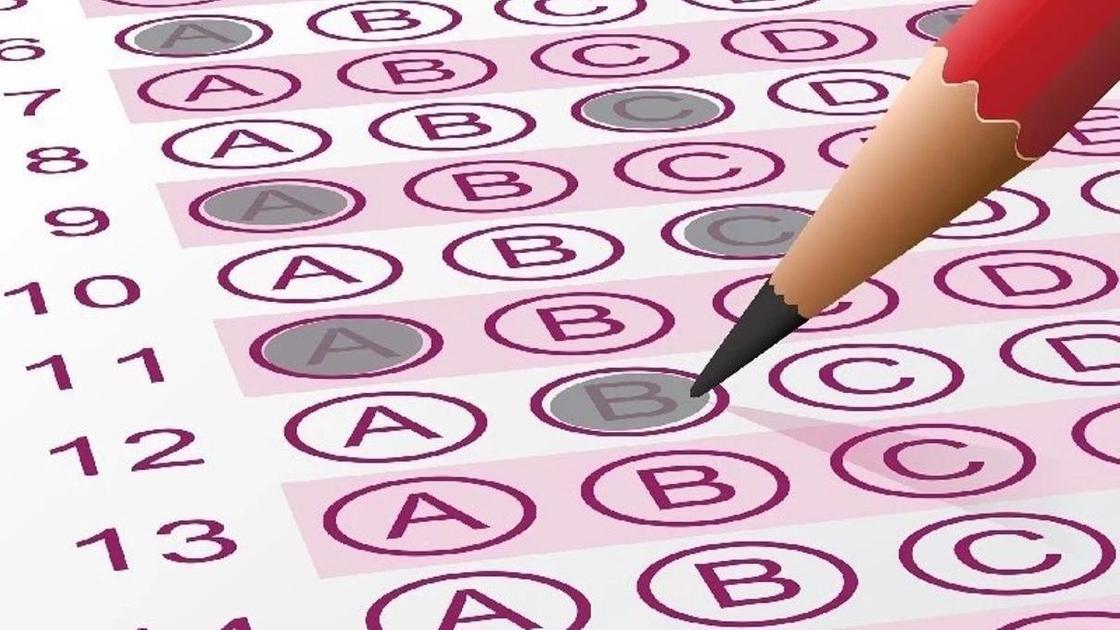 тестирование (карандаш отмечает ответы)