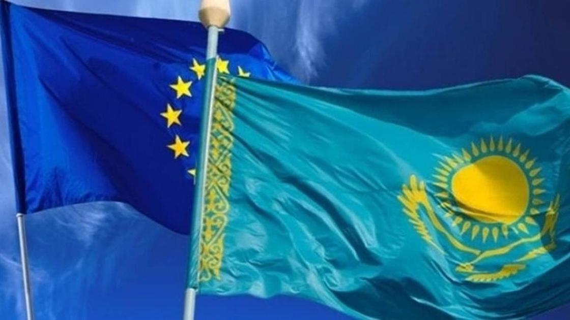 флаги ЕС и Казахстана
