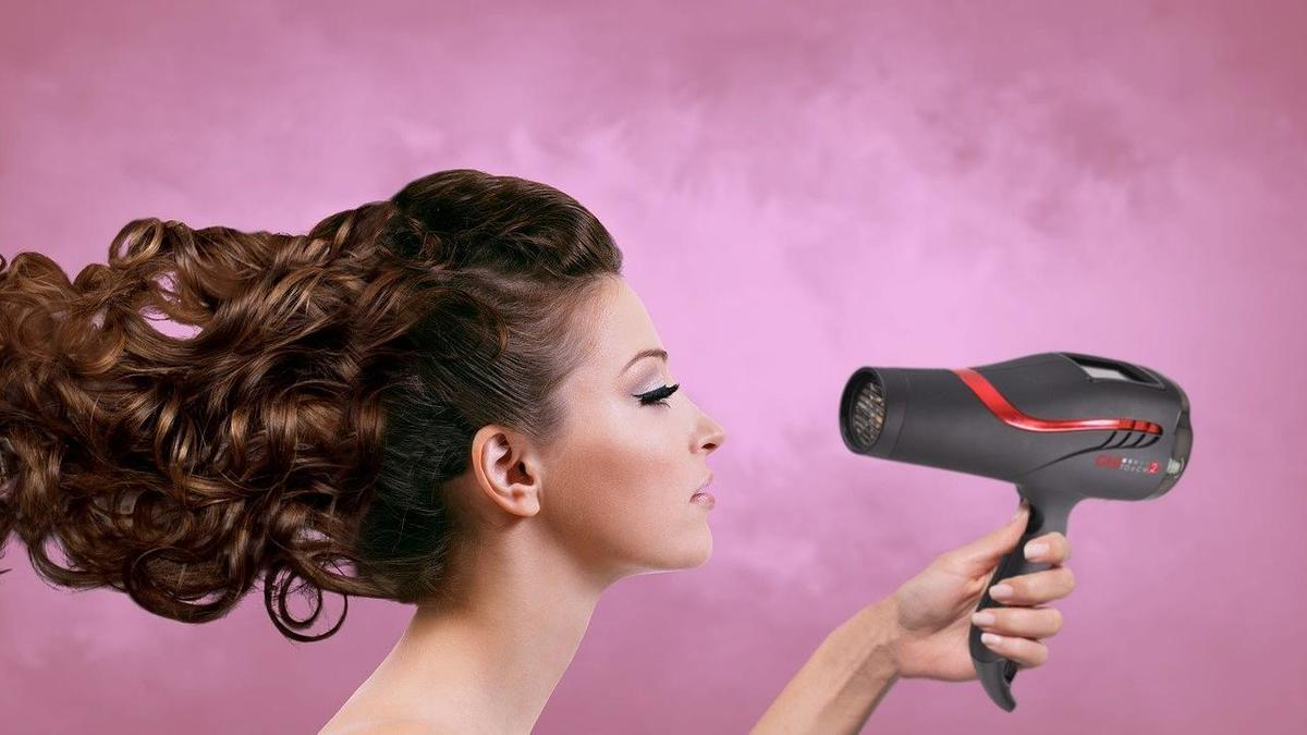 Фен, женщина, волосы