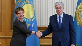 Одиль Рено-Бассо и Касым-Жомарт Токаев