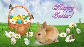 Пасхальная корзинка, кролик среди цветов