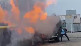 Газовая труба загорелась в Алматинской области