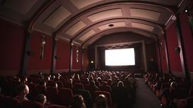 Люди сидят в зале кинотеатра