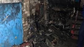 Место пожара в Караганде