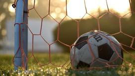 Мяч лежит возле футбольных ворот
