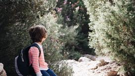 Мальчик с рюкзаком за спиной