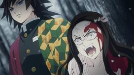 кадр из аниме «Клинок, рассекающий демонов»