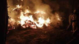 Сено горит в Атырауской области