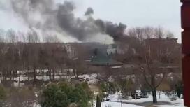 Дым из дома, где находился стрелок