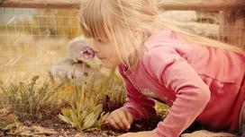 Девочка нюхает цветок