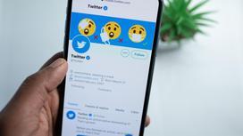 Рука держит телефон с открытым приложением Twitter