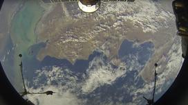 Вид из иллюминатора МКС на территорию Казахстана