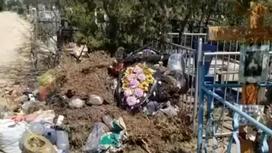 Мусор выбросили на кладбище