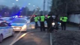 полицейские стоят рядом с патрульными машинами