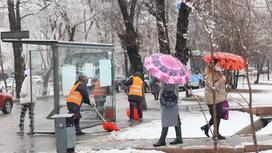 Люди идут по улице под снегом
