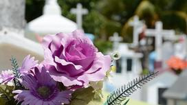 Цветы лежат на кладбище
