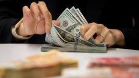 Девушка с накрашенными ногтями считает доллары