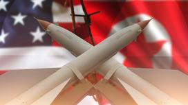 Ракеты и флаги Северной Кореи и США