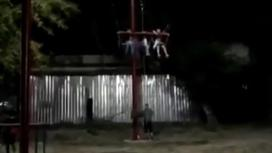 Дети на аттракционе в парке Кордая