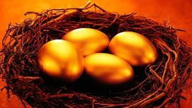 Позолоченные яйца в гнезде