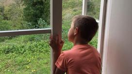 мальчик смотрит во двор