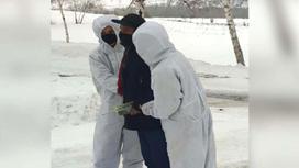 Сотрудники колонии в противочумных костюмах задержали нарушителя