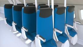 Вертикальные сиденья в салоне самолета