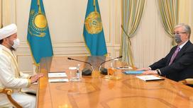 Касым-Жомарт Токаев и  Верховный муфтий Наурызбай кажы Таганулы