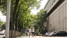 Мужчины идут по улице Алматы