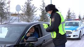 Сотрудник полиции разговаривает с водителем